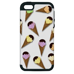 Ice Cream Pattern Apple Iphone 5 Hardshell Case (pc+silicone) by Valentinaart