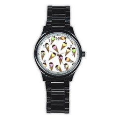 Ice Cream Pattern Stainless Steel Round Watch by Valentinaart