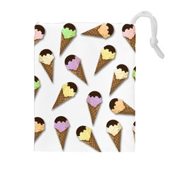 Ice Cream Pattern Drawstring Pouches (extra Large) by Valentinaart