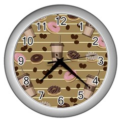 Coffee And Donuts  Wall Clocks (silver)  by Valentinaart