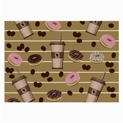 Coffee And Donuts  Large Glasses Cloth (2 Side) by Valentinaart