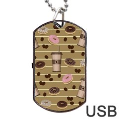 Coffee And Donuts  Dog Tag Usb Flash (one Side) by Valentinaart