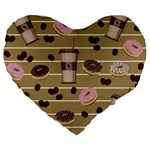 Coffee and donuts  Large 19  Premium Heart Shape Cushions Front