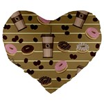 Coffee and donuts  Large 19  Premium Heart Shape Cushions Back