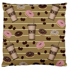 Coffee And Donuts  Large Flano Cushion Case (one Side) by Valentinaart