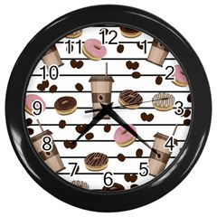 Donuts And Coffee Pattern Wall Clocks (black) by Valentinaart