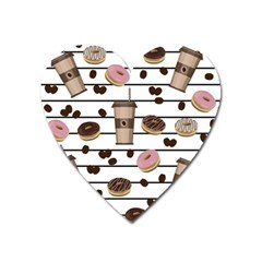 Donuts And Coffee Pattern Heart Magnet by Valentinaart