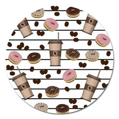 Donuts And Coffee Pattern Magnet 5  (round) by Valentinaart