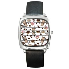 Donuts And Coffee Pattern Square Metal Watch by Valentinaart