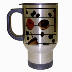 Donuts And Coffee Pattern Travel Mug (silver Gray)