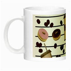 Donuts And Coffee Pattern Night Luminous Mugs by Valentinaart
