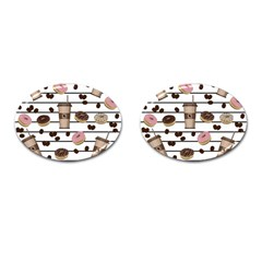 Donuts And Coffee Pattern Cufflinks (oval) by Valentinaart