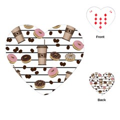 Donuts And Coffee Pattern Playing Cards (heart)  by Valentinaart