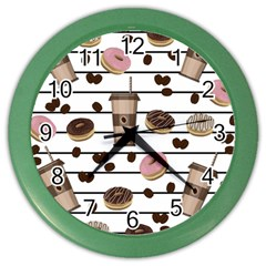 Donuts And Coffee Pattern Color Wall Clocks by Valentinaart