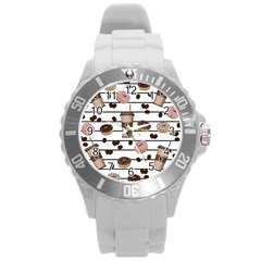 Donuts And Coffee Pattern Round Plastic Sport Watch (l) by Valentinaart