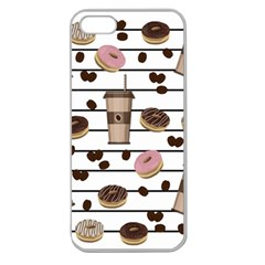 Donuts And Coffee Pattern Apple Seamless Iphone 5 Case (clear) by Valentinaart