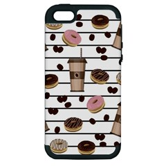 Donuts And Coffee Pattern Apple Iphone 5 Hardshell Case (pc+silicone) by Valentinaart