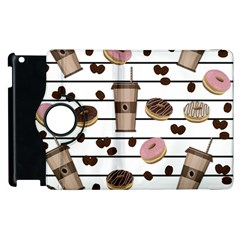 Donuts And Coffee Pattern Apple Ipad 2 Flip 360 Case by Valentinaart