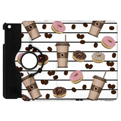 Donuts And Coffee Pattern Apple Ipad Mini Flip 360 Case by Valentinaart