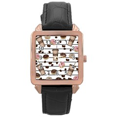 Donuts And Coffee Pattern Rose Gold Leather Watch