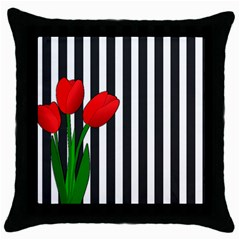 Tulips Throw Pillow Case (black) by Valentinaart