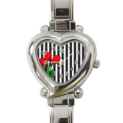 Tulips Heart Italian Charm Watch by Valentinaart