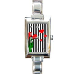 Tulips Rectangle Italian Charm Watch by Valentinaart