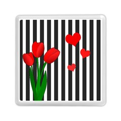 Tulips Memory Card Reader (square)  by Valentinaart