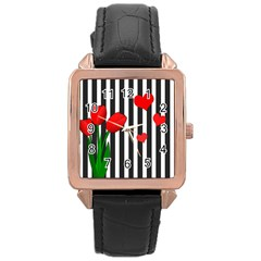 Tulips Rose Gold Leather Watch