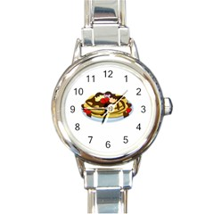 Pancakes   Shrove Tuesday Round Italian Charm Watch by Valentinaart