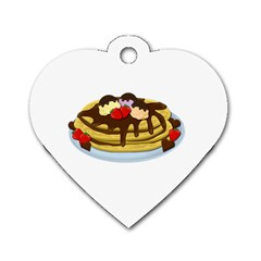Pancakes   Shrove Tuesday Dog Tag Heart (one Side) by Valentinaart