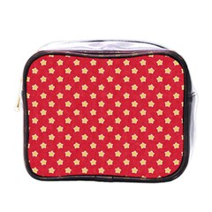 Pattern Felt Background Paper Red Mini Toiletries Bags by Nexatart