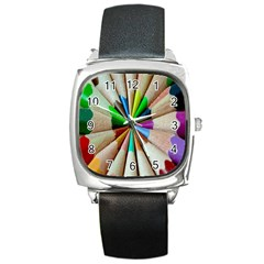 Pen Crayon Color Sharp Red Yellow Square Metal Watch by Nexatart