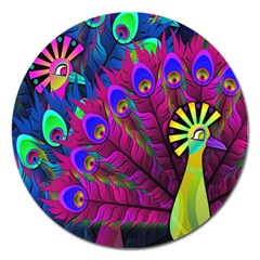 Peacock Abstract Digital Art Magnet 5  (round) by Nexatart
