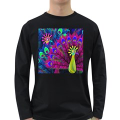 Peacock Abstract Digital Art Long Sleeve Dark T Shirts by Nexatart