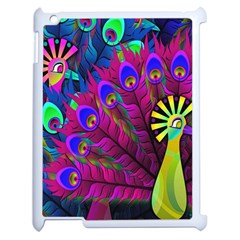 Peacock Abstract Digital Art Apple Ipad 2 Case (white) by Nexatart