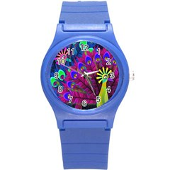 Peacock Abstract Digital Art Round Plastic Sport Watch (s) by Nexatart