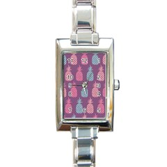 Pineapple Pattern  Rectangle Italian Charm Watch by Nexatart