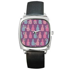Pineapple Pattern  Square Metal Watch by Nexatart