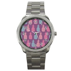 Pineapple Pattern  Sport Metal Watch by Nexatart