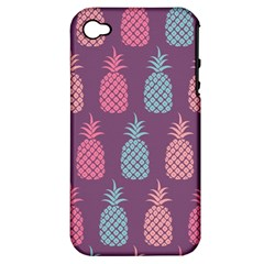 Pineapple Pattern  Apple Iphone 4/4s Hardshell Case (pc+silicone) by Nexatart