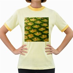 Pineapple Pattern Women s Fitted Ringer T Shirts by Nexatart