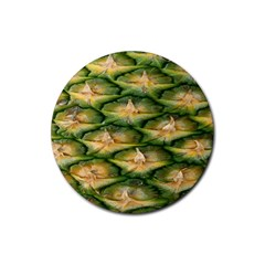 Pineapple Pattern Rubber Round Coaster (4 Pack)  by Nexatart