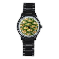 Pineapple Pattern Stainless Steel Round Watch by Nexatart