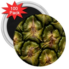 Pineapple Fruit Close Up Macro 3  Magnets (100 Pack) by Nexatart