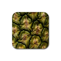 Pineapple Fruit Close Up Macro Rubber Square Coaster (4 Pack)