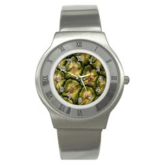 Pineapple Fruit Close Up Macro Stainless Steel Watch by Nexatart
