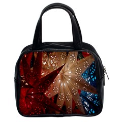 Poinsettia Red Blue White Classic Handbags (2 Sides) by Nexatart