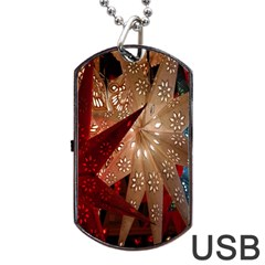 Poinsettia Red Blue White Dog Tag Usb Flash (one Side)