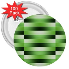 Pinstripes Green Shapes Shades 3  Buttons (100 Pack)  by Nexatart